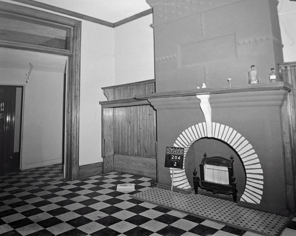 First floor fireplace, 204 State Street, April 1963. NYSA.