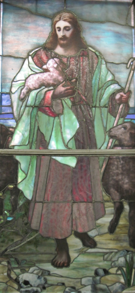 A Tiffany stained glass window from the Lancaster Street church.