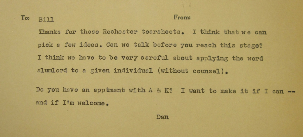 Memo from Daniel Button to William Kennedy, ca. 1965. William Kennedy Papers, Special Collections, U Albany.