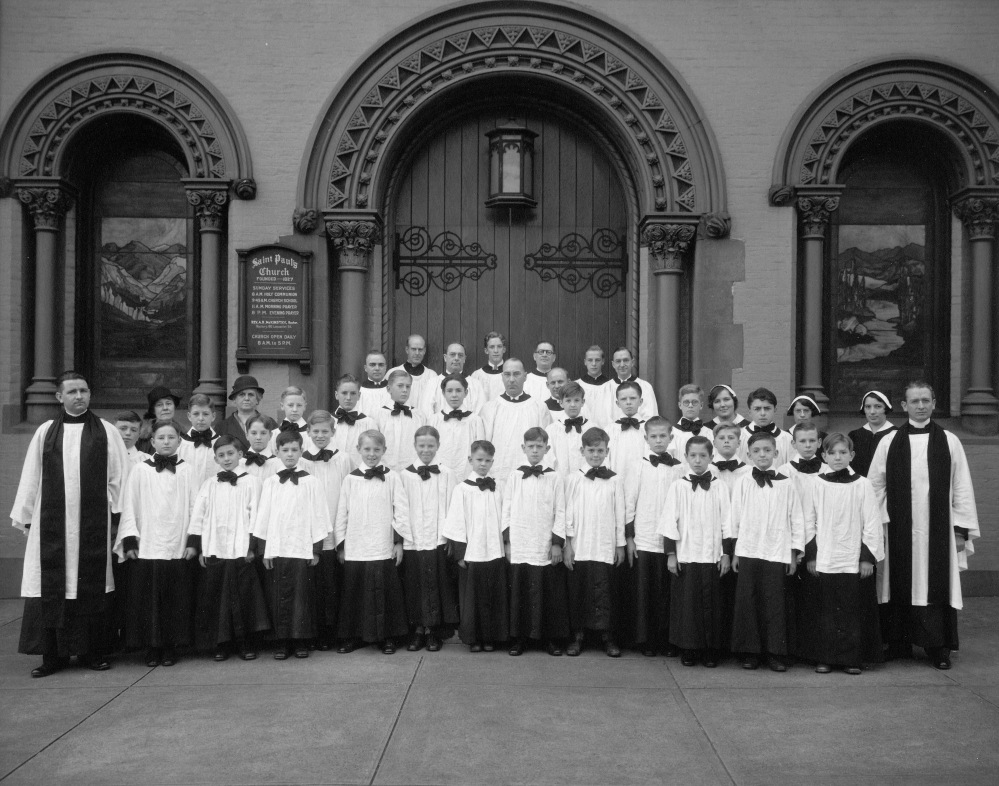 St. Paul's choir in front of the Lancaster Street church, ca 1930s. St. Paul's.