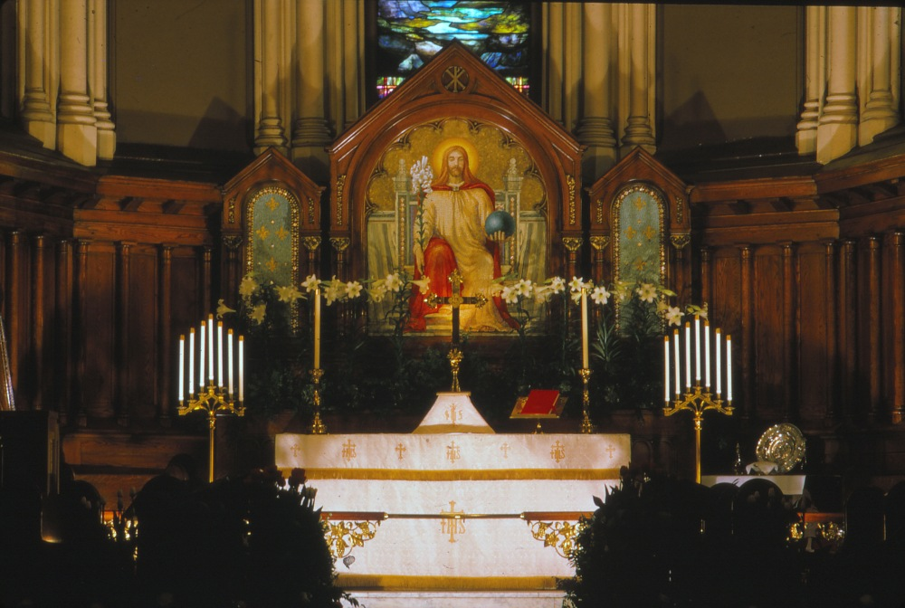 The altar of St. Paul's on Lancaster Street, Easter 1962. St. Paul's