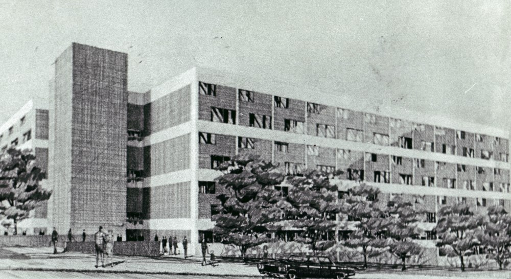 Roosevelt Terrace, Buildings 1 and 2 were designed for middle-income residents. These apartments were to be built kitty-corner from the Cathedral of the Immaculate Conception, where now a four-story parking garage stands. Courtesy of the Times Union.