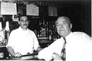 Moe Levine with customer Al Dams at Dinty's. Courtesy Barry Levine.