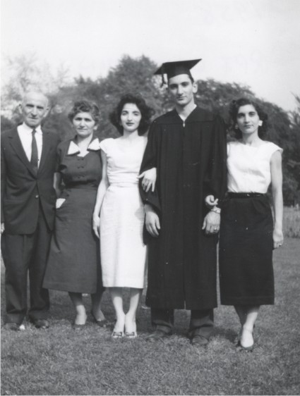Lazarus, Sophie, Demetra, Angelo, and Despina at Angelo's graduation from RPI, 1958. Courtesy of Angelo Kontis.