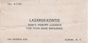 Lazarus's business card. Courtesy of Angelo Kontis.