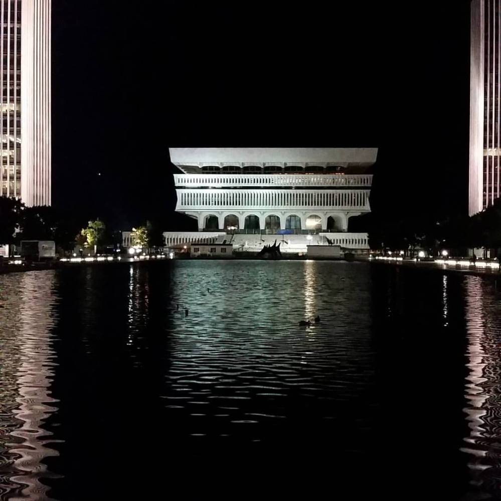 The Cultural Education Center at night, September 2015. Courtesy Albert Gnidica.