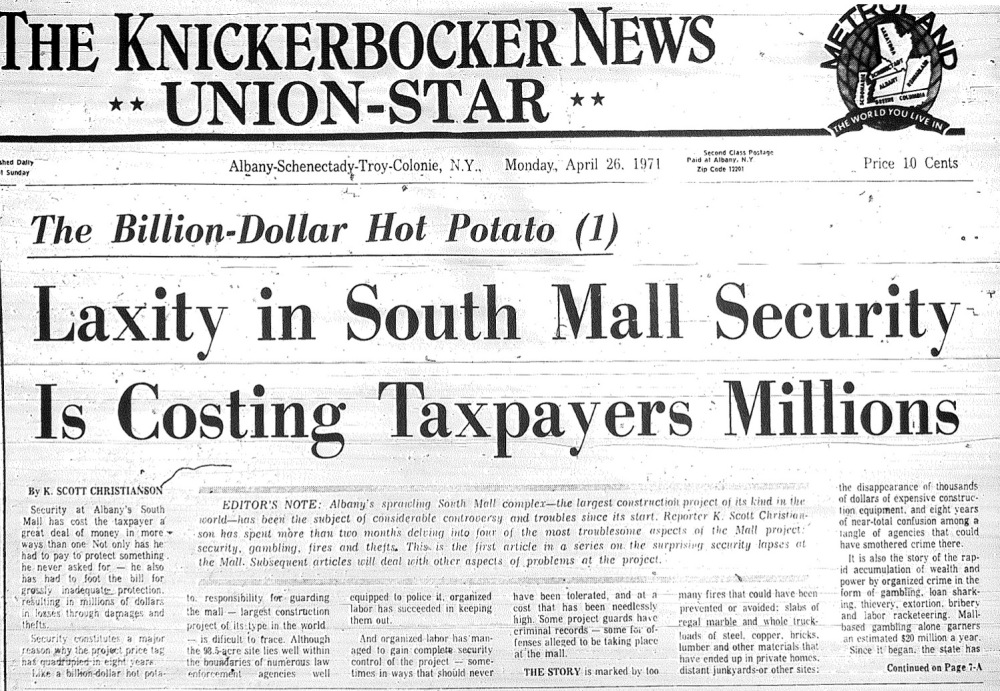 The Knickerbocker News, front page, April 26, 1971. Used by permission of the Times Union.