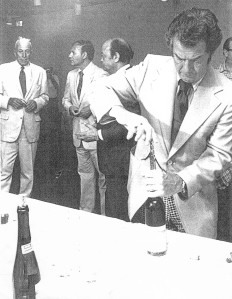 Marvin opens wine for Mayor Erastus Corning and friend, nd. Courtesy Debbie Sherman.