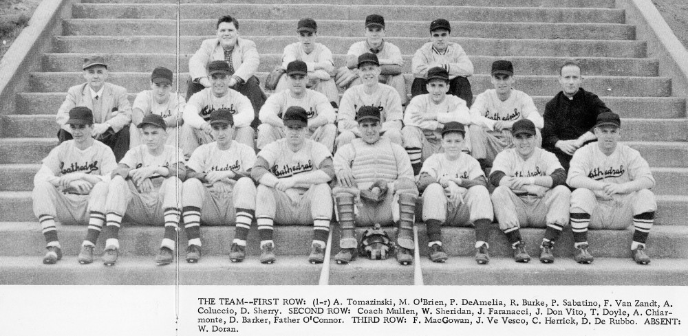 1956 Cathedral Academy baseball team, photographed for the 1957 yearbook in Lincoln Park. Leo sits n the second row, far left.