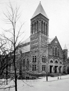 The synagogue of Congregation Beth Emeth, corner Lancaster and S. Swan streets, ca. 1930s. Later Wilborn Temple. Albany Institute.