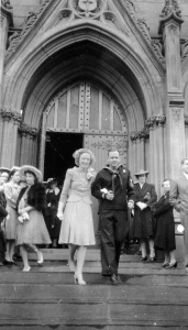 Just married: Elinor and Leo on the Cathedral steps, June 1942. Courtesy Mike Mullen.