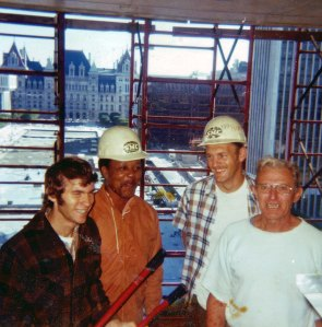 Gerry with his friends (l-r): Eddie Brown, Tom Hohman, and Al Kochestski. Courtesy Gerry and Mary Dwileski.