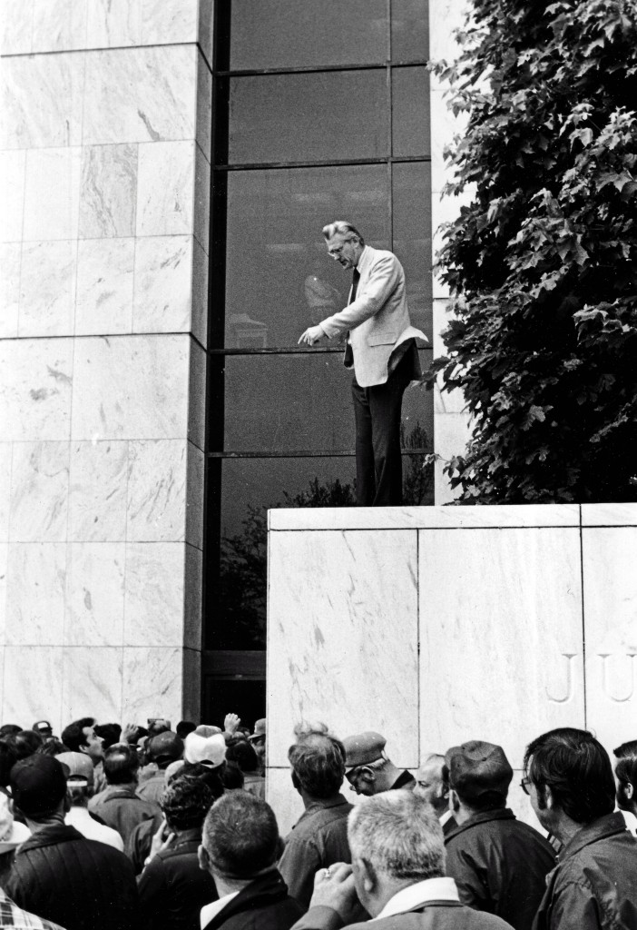 Hank Landau in front of Justice Bldg ca 1970-75